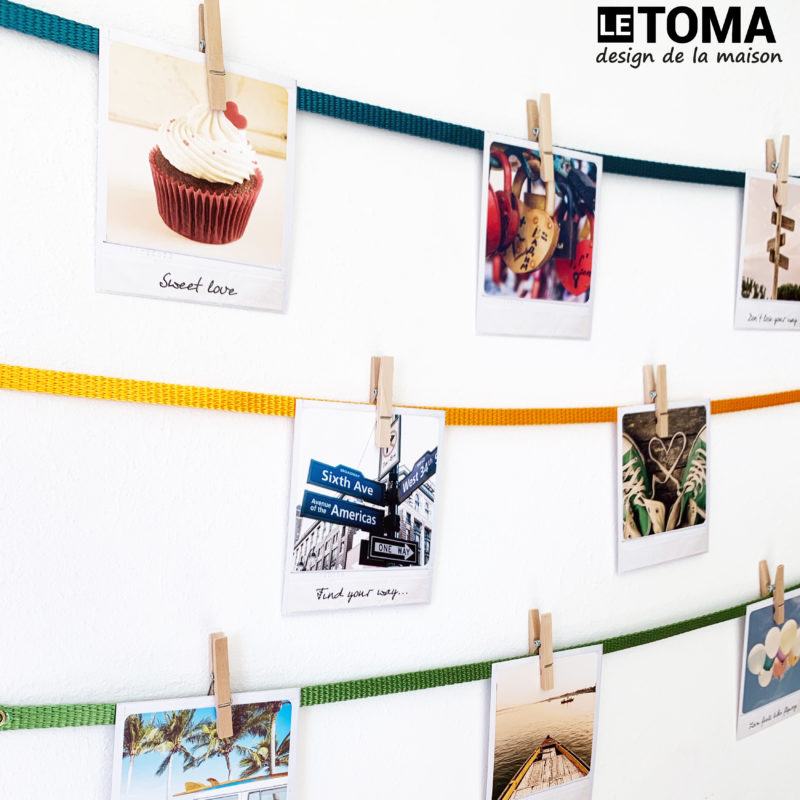 Fotoseil mit Holzklammern bunt