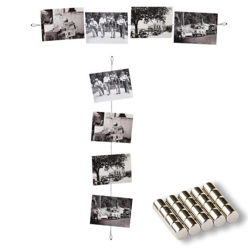 Fotoseil mit Magneten und Befestigungsschlaufen horizontal und vertikal aufgehängt