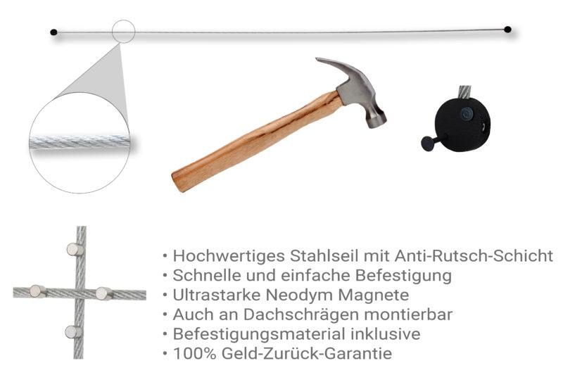 Fotoseil in transparenter Ummantelung mit Neodym Magneten - Montageanleitung