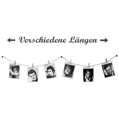 Fotos auf Fotoleine mit Klammern aufgehängt Längenangabe