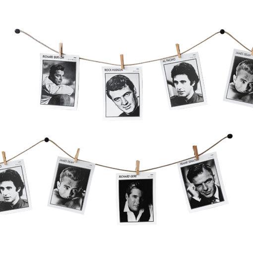 Bilder aufhängen mit Klammern auf Schnur
